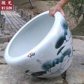 聖誕節交換禮物-景德鎮陶瓷魚缸養金魚缸烏龜缸睡蓮盆碗蓮缸荷花缸特大號客廳魚缸ZMD