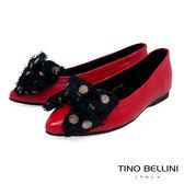 Tino Bellini絲帶蝴蝶結全真皮柔軟尖頭娃娃鞋_紅 VI8573