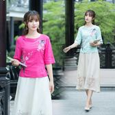 新款女裝民族風刺繡短袖棉麻小衫襯衫【新品推薦】