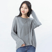Victoria 異材質拼接設計長袖寬鬆線衫-深灰-V6511086