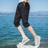 夏天七分褲男士休閒短褲7分中褲正韓修身潮流寬鬆沙灘馬褲子男潮