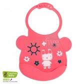 Creative Baby 創寶貝 可收納式攜帶防水無毒矽膠學習圍兜_乖巧小兔