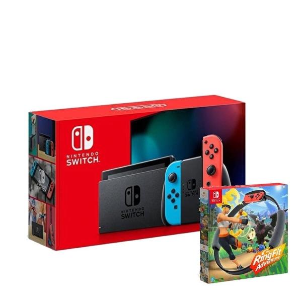 【神腦生活】任天堂 Switch 紅藍主機 (電池加強版)+健身環大冒險 同捆組