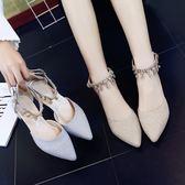 春夏金色伴娘鞋單鞋水鑽壹字扣帶粗跟高跟鞋婚鞋百搭女鞋