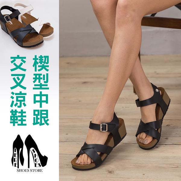 [Here Shoes]零碼39 2色皮革質感羅馬交叉楔型涼鞋魔鬼氈好穿脫羅馬6CM中跟涼鞋 ◆MIT台灣製─KT5606