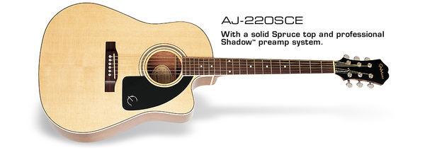 民謠吉他►Epiphone AJ-220SCE 可插電單板民謠吉他 【AJ220SCE 】