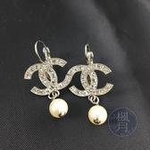 BRAND楓月 CHANEL 香奈兒 15年 水鑽雙C 珍珠 墜飾 純銀 耳環 長耳環 飾品 配件