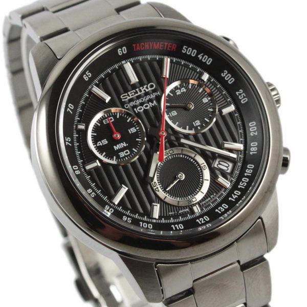 【萬年鐘錶】SEIKO 三眼計時碼錶  日期顯示  防水百米 黑錶面 SSB219P1(8T68-00A0SD)
