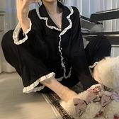 新款ins甜美睡衣少女春秋季長袖韓版簡約可外穿長褲家居服兩件套 【快速出貨】