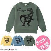兒童卡通恐龍印花加厚長袖上衣 T恤