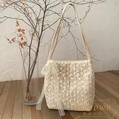 包包草編蕾絲單肩包手提包大容量水桶購物袋【繁星小鎮】