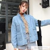 純色長袖簡約新款牛仔外套女單排扣夾克百搭韓版女裝  中秋特惠