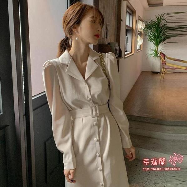 長袖洋裝 秋裝洋裝2020年新款chic收腰西裝領顯瘦氣質長袖魚尾長裙子