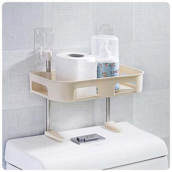 【馬桶收納架雙層】廚房衛浴免釘無痕壁掛式置物架 懸掛吸壁式收納盒 可立式