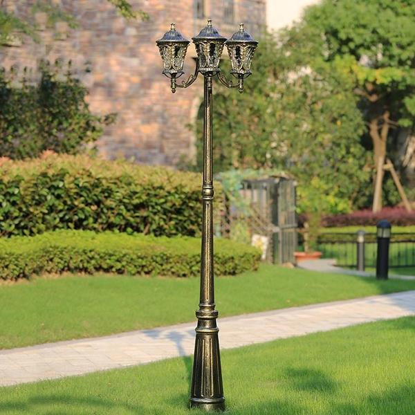 庭院燈歐式別墅路燈景觀草坪燈具壓鑄鋁戶外防水三頭