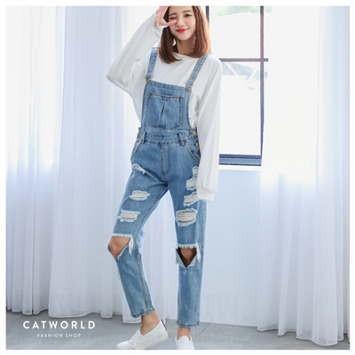 Catworld 大口袋刷破牛仔吊帶褲【16500130】‧S/M/L