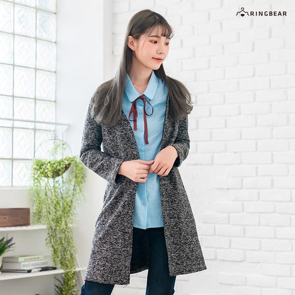 長版外套--典雅大方簡約風寬鬆修身加長開衩毛線針織薄外套(灰L-3L)-J235眼圈熊中大尺碼◎