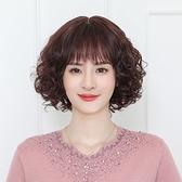 短假髮(真人髮絲)-蓬鬆捲髮自然中老年女假髮2色74ai28【時尚巴黎】