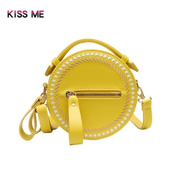 KISS ME包包女時尚百搭簡約可愛清新韓版小圓包斜挎女包 印巷家居
