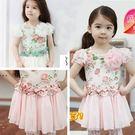 短袖洋裝 夏款玫瑰花紗褶小公主洋裝 S57010