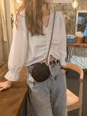 初秋女上衣輕熟韓版2020秋裝新款長袖襯衫純色修身抽繩短款襯衣潮 後街五號