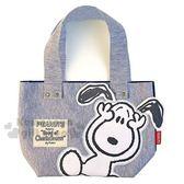 〔小禮堂〕史努比 棉質布章手提袋《灰藍.抱臉》便當袋.外出袋 4548643-12935