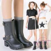 韓版時尚雨鞋女中筒馬丁雨靴女士夏季套鞋防滑水鞋成人膠鞋防水鞋 【快速出貨】