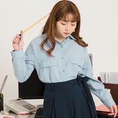 Poly Lulu 造型口袋感邊條長袖襯衫-藍【91040103】