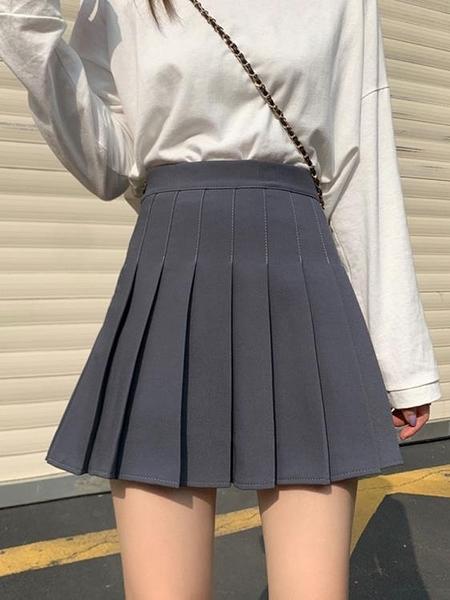 百褶裙 學生防走光半身裙女夏季2021新款裙子高腰顯瘦a字裙短裙百褶裙潮 歐歐