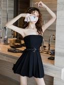洋裝 2020夏天新款性感抹胸連衣裙收腰顯瘦氣質女神范短款約會a字裙子 歐歐