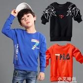 男童連帽T恤2020冬兒童一體絨打底衫中大童長袖加絨保暖上衣純棉加厚【小艾新品】