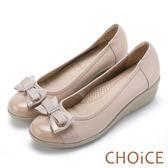 限時特賣-CHOiCE Q軟舒適 鑽釦蝴蝶結牛皮坡跟鞋-粉紅