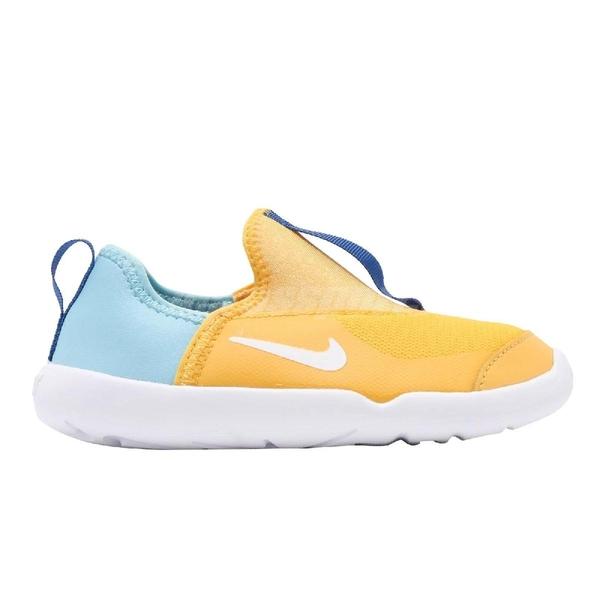 Nike 休閒鞋 Lil Swoosh TD 黃 藍 襪套設計 無鞋帶 低筒 童鞋 小童鞋 運動鞋【ACS】 AQ3113-700