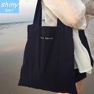 【P163】shiny藍格子-潮流時尚‧字母單肩手提帆布包手提環保購物袋