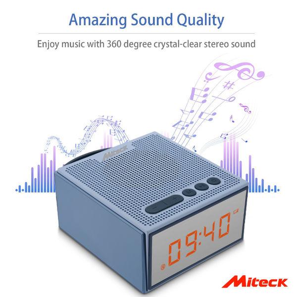 Miteck 可攜式藍芽 無線喇叭 質感唱盤設計 LED數字鬧鐘 BS-401 音箱