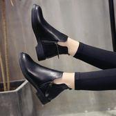 短靴粗跟百搭平底馬丁靴女英倫風中跟春秋裸靴單靴潮 One shoes