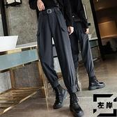 黑色工裝褲女寬鬆嘻哈運動褲高腰潮束腳休閒褲【左岸男裝】