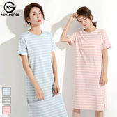 棉製簡約條紋居家連身裙-3色可選