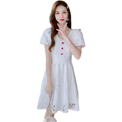 裙子 洋裝 伴娘裙實拍 鬆緊腰短袖麻棉復古小個子v領鏤空繡花連衣裙T356F.8360皇朝天下