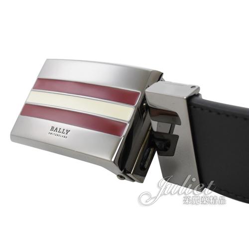 茱麗葉精品【全新現貨】BALLY TARAGLI 紅白金屬飾扣雙色雙面皮帶.黑/深藍