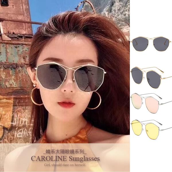 《Caroline》IG網紅款細邊大框顯瘦多邊形潮流行百搭明星抗UV太陽眼鏡 71256標檢局D74321