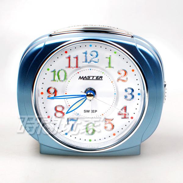MASTER 台灣製造 方型 精美鬧鐘 連續秒針 超靜音 貪睡 燈光 LED強光數字面板 JM-E503藍