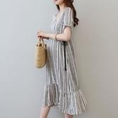 初心 韓系洋裝 【D8080】 V領 條紋 繫帶 短袖 高腰 魚尾裙 魚尾洋裝 長洋裝