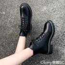 馬丁靴 夏季馬丁靴女薄款2021年春秋季新款帥氣機車靴平底百搭系帶短靴女 榮耀新鞋