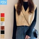 【V3252】shiny藍格子-簡單穿搭.日系V領短款針織背心