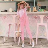 新春狂歡 夏新款甜美少女風糖果色牛仔背帶褲兩件套休閒時尚連衣褲連體長褲