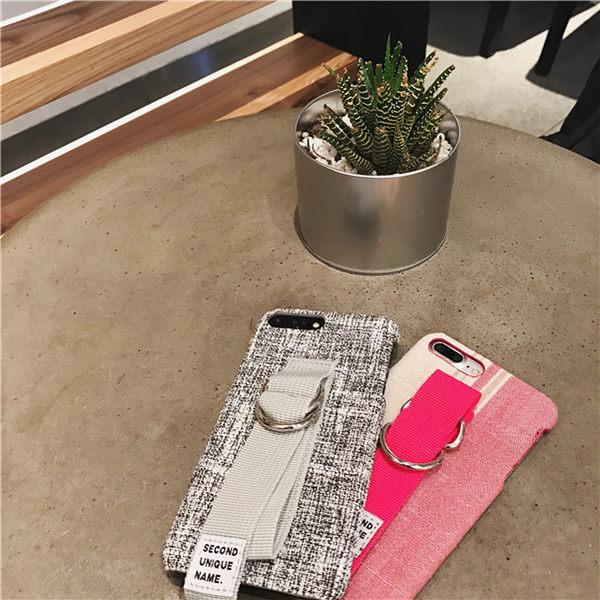 iPhone手機殼  韓國文藝腕帶 棉麻硬殼 蘋果iPhone7/iPhone6 手機殼