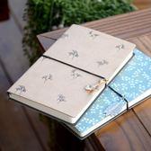韓國創意復古盒裝手賬本空白隨身筆記本文具A6綁繩碎花日記事本子