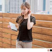 《AB6825-》滿版鏤空蕾絲雕花X細肩帶純色兩件式上衣 OB嚴選