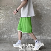 五分褲 夏季寬鬆運動休閒短褲男韓版百搭復古純色跑步五分褲潮 艾維朵